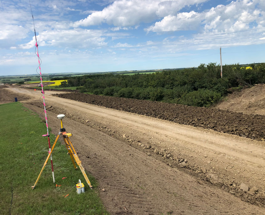 survey equipment on side of road construction